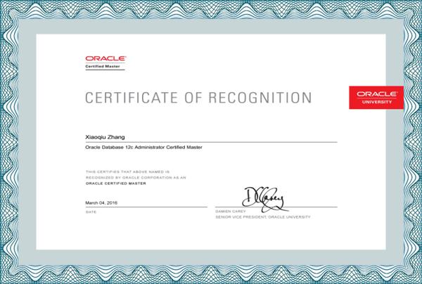 Oracle 12c OCM认证大师证书