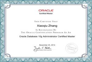 Oracle 10g OCM认证大师证书